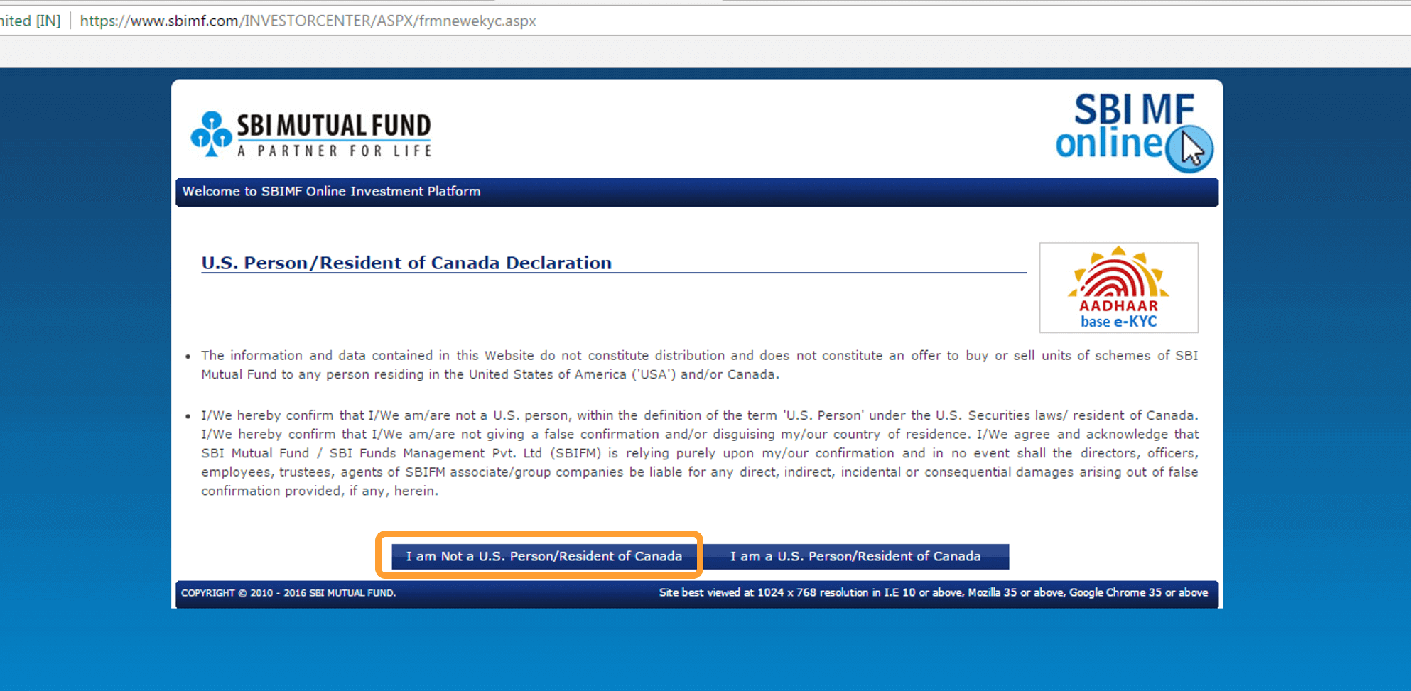 Aadhaar based ekyc online mutual funds